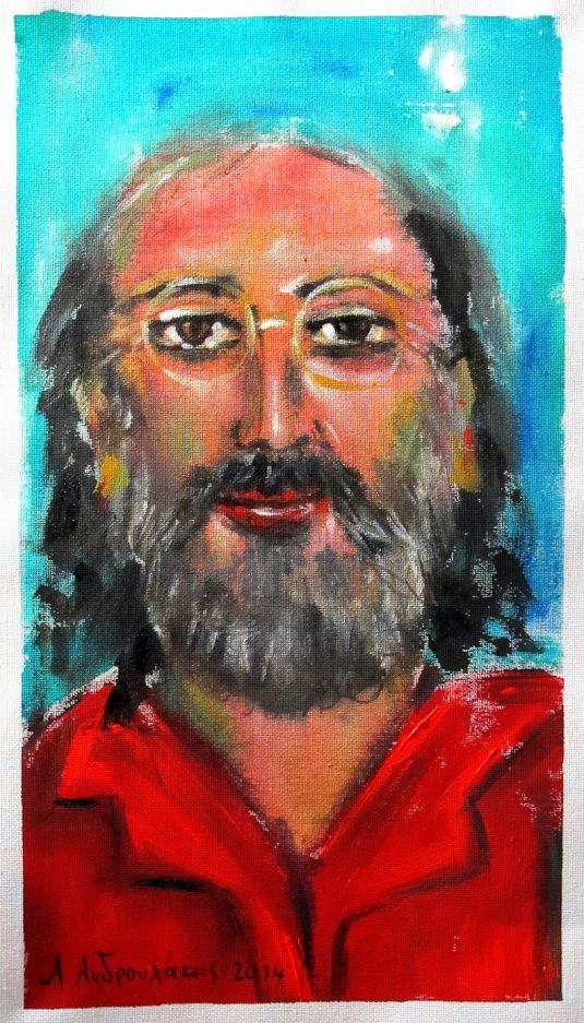 αυτοπροσωπογραφία με κόκκινο πουκάμισο